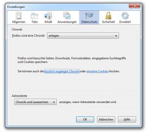 Chronikeinstellungen im Firefox 3.6.X aufrufen